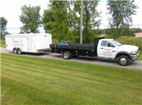 Fence Gallery Photo - New Dodge Stake Truck and enclosed Trailer.jpg